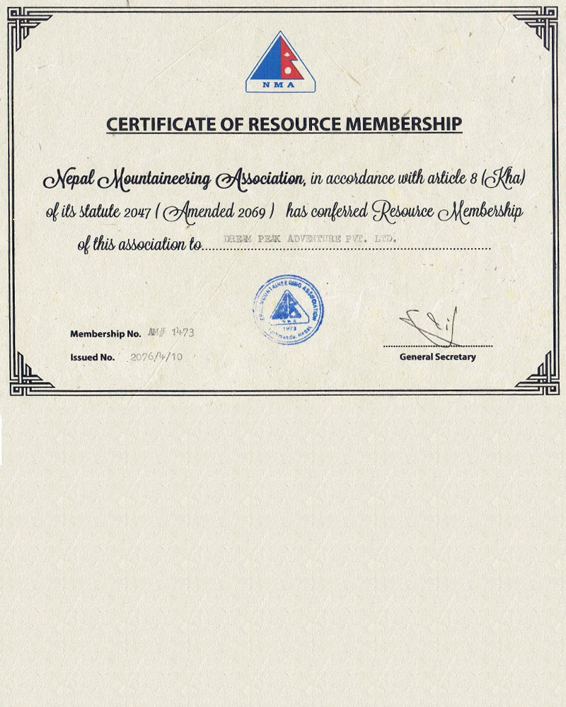 Certificate from NMA